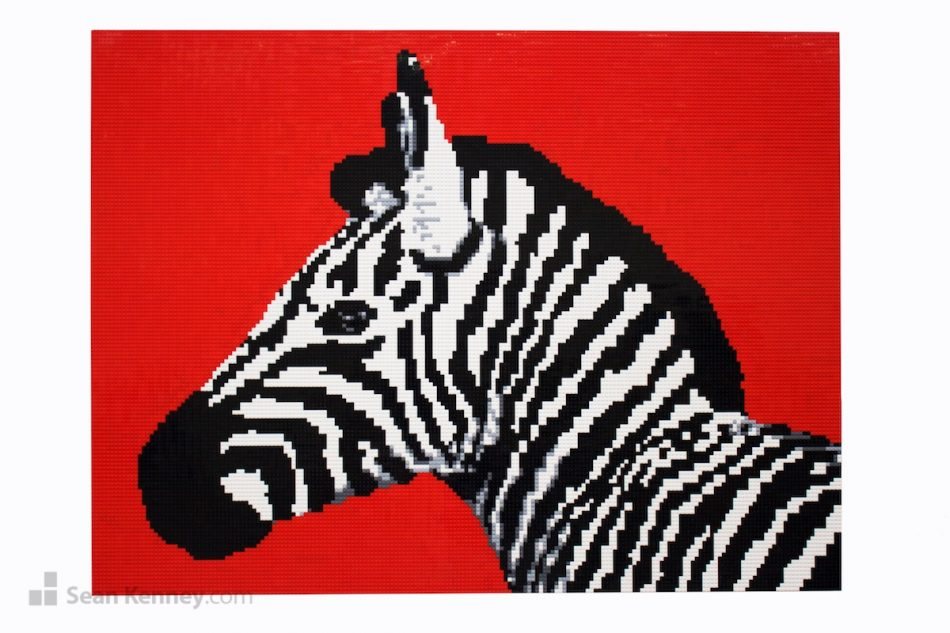 Zebra-mural LEGO art by Sean Kenney