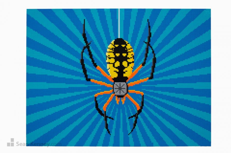Spider-mural LEGO art by Sean Kenney