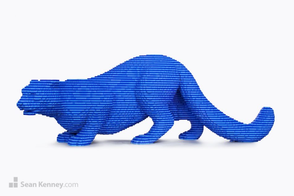 Striped-blue-snow-leopard LEGO art by Sean Kenney