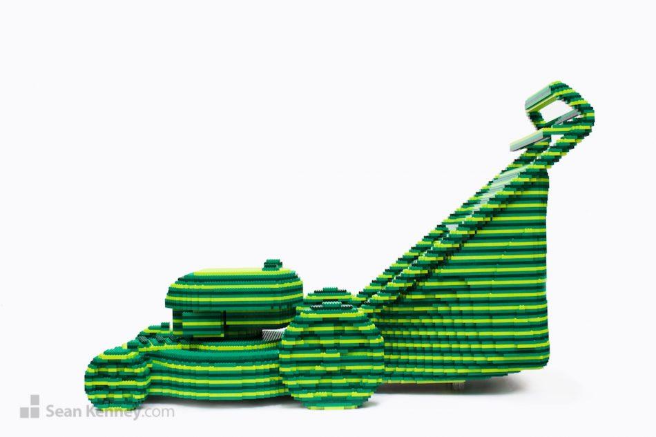 Striped-green-lawnmower LEGO art by Sean Kenney
