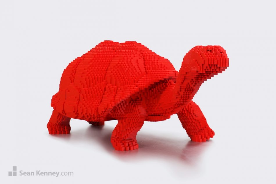 Big-red-tortoise LEGO art by Sean Kenney