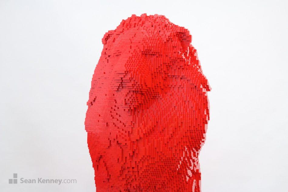 Bright-red-lion LEGO art by Sean Kenney