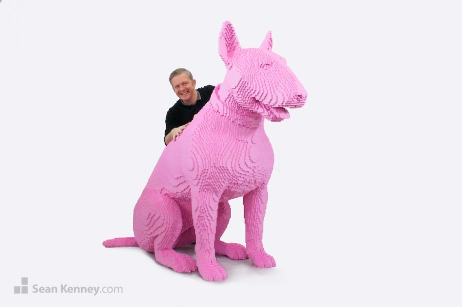 Big-pink-dog LEGO art by Sean Kenney