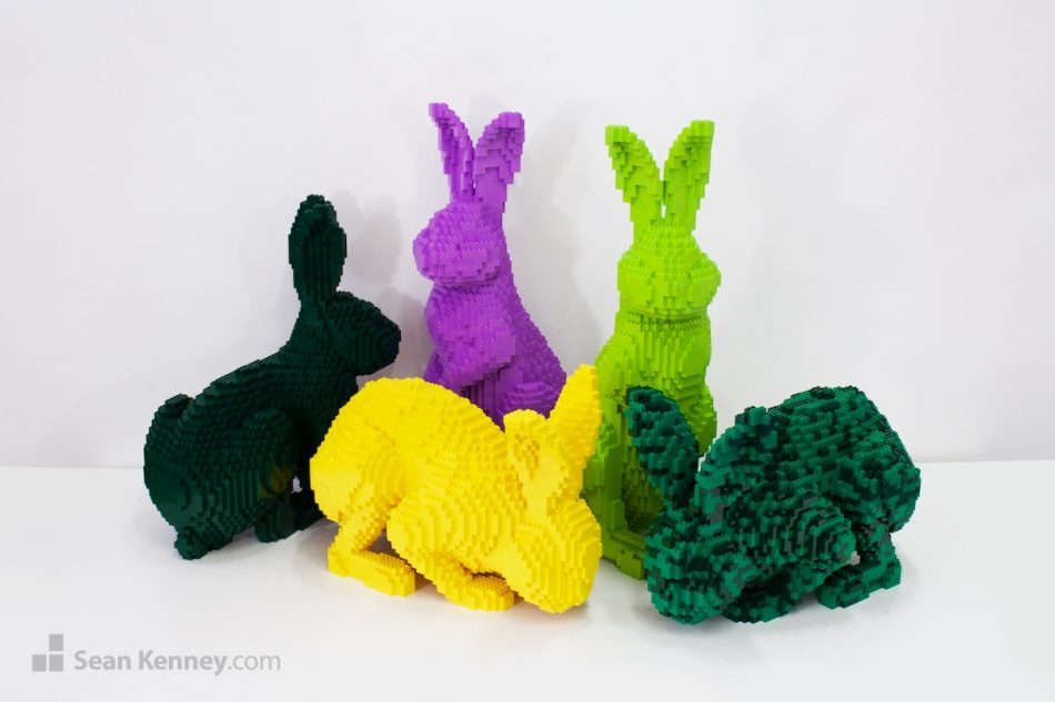 Nature-pop-bunnies LEGO art by Sean Kenney