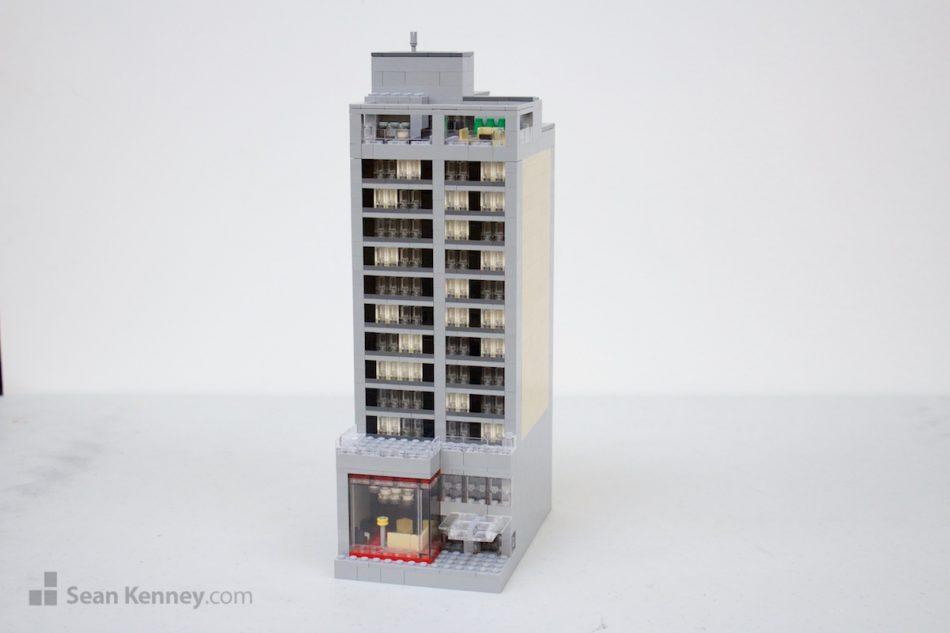 Downtown-hotel LEGO art by Sean Kenney