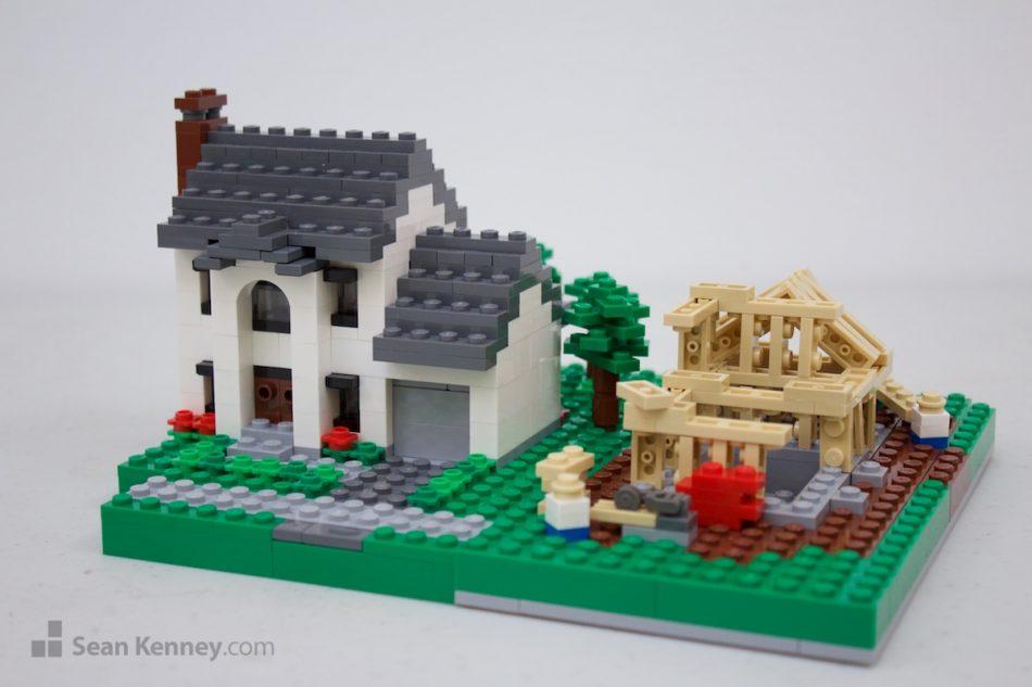 Suburban-single-family-homes LEGO art by Sean Kenney
