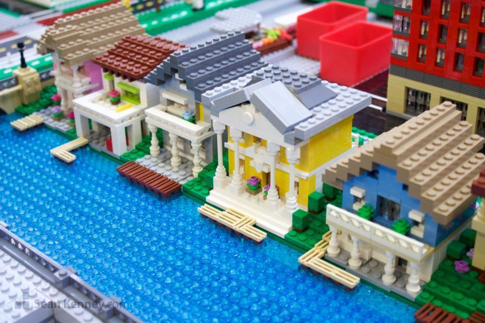 Fancy-waterfront-homes LEGO art by Sean Kenney