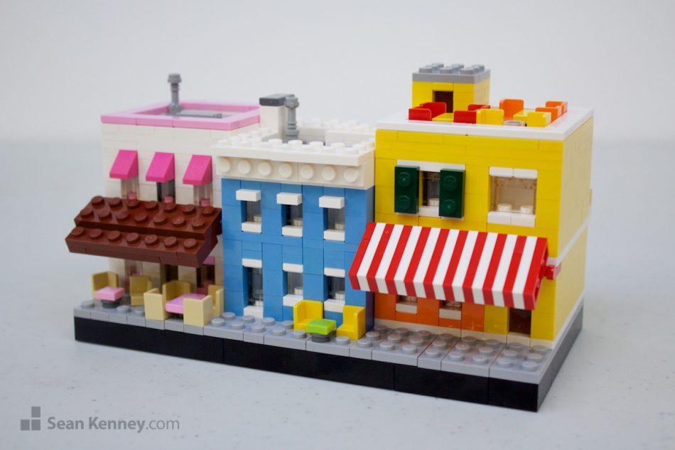 Waterfront-restaurants LEGO art by Sean Kenney
