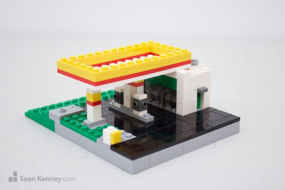 Suburban-gas-station LEGO art by Sean Kenney
