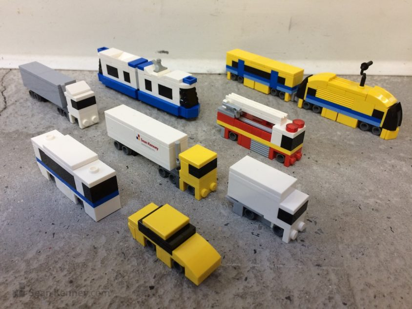 Tiny-trucks-trains-and-cars LEGO art by Sean Kenney