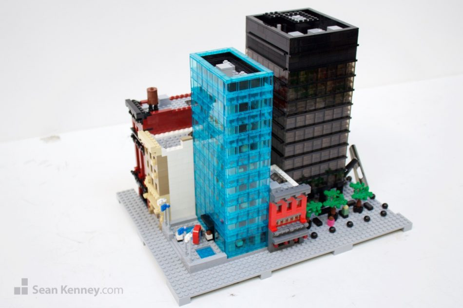 Midtown-city-office-block LEGO art by Sean Kenney