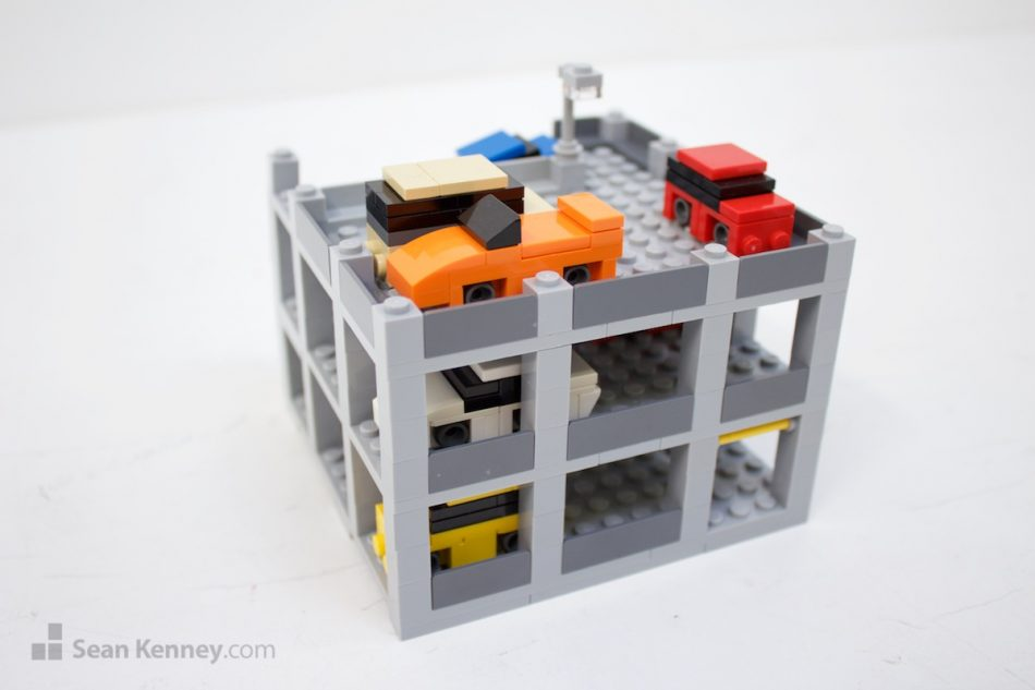 Very-tiny-parking-garage LEGO art by Sean Kenney