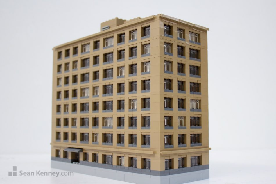 Ugly-apartment-building LEGO art by Sean Kenney