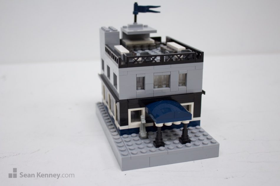 Rooftop-restaurant LEGO art by Sean Kenney