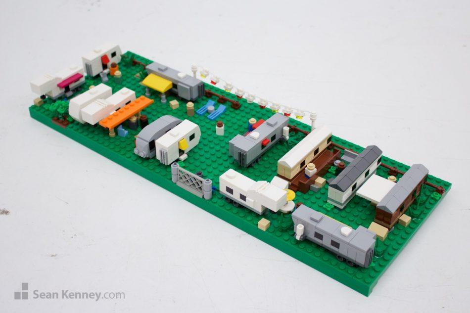 Trailer-park LEGO art by Sean Kenney