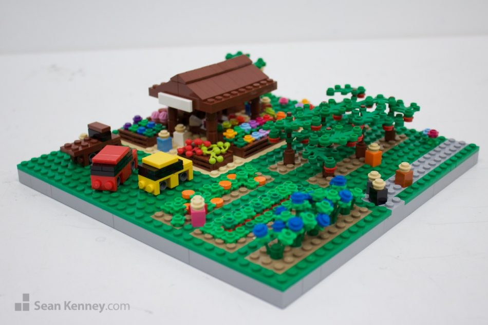 Farmers-market LEGO art by Sean Kenney