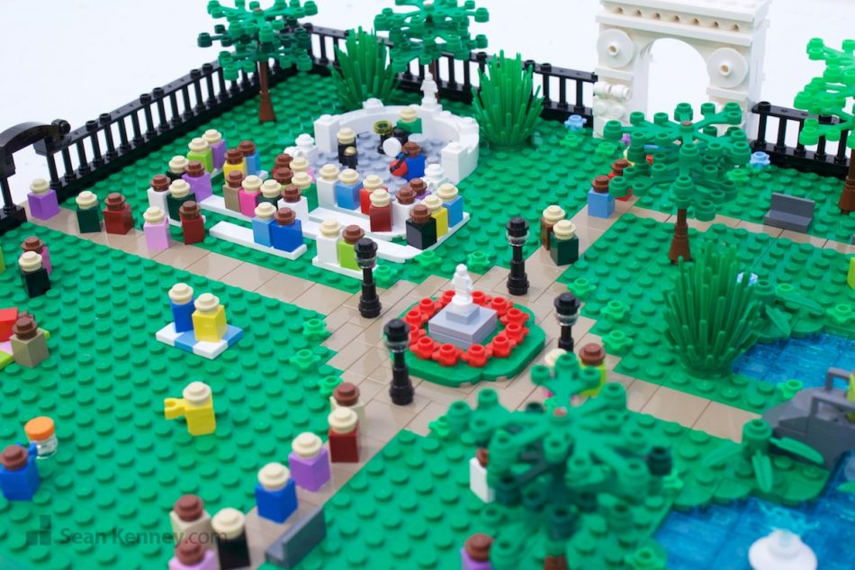 Small-city-park LEGO art by Sean Kenney