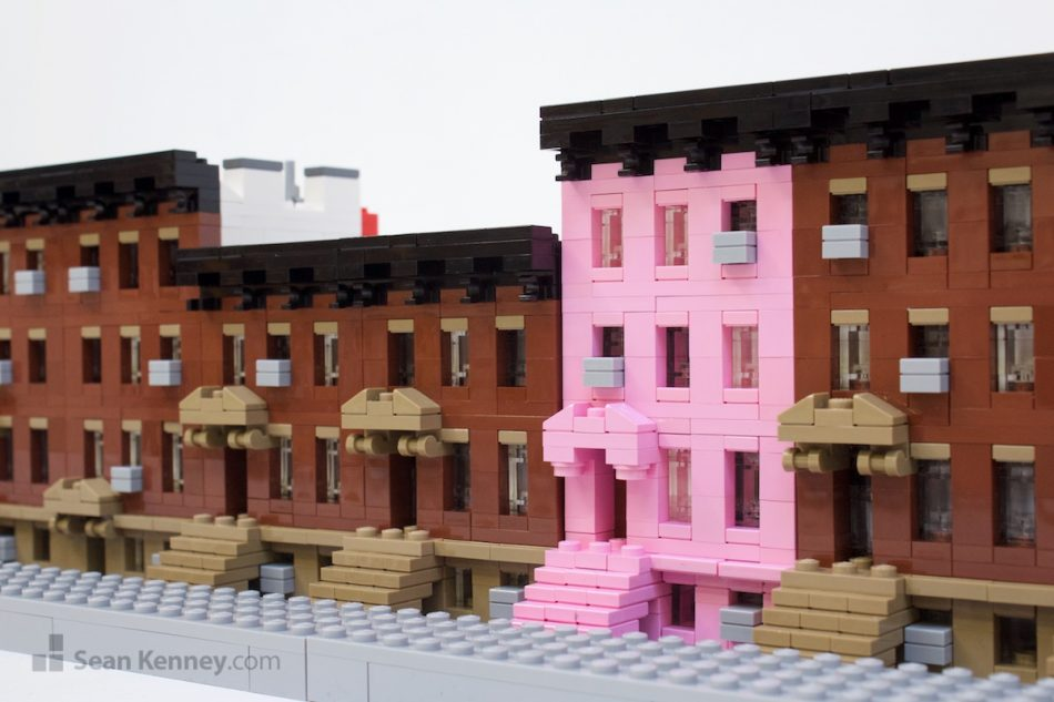 The-pink-brownstone LEGO art by Sean Kenney