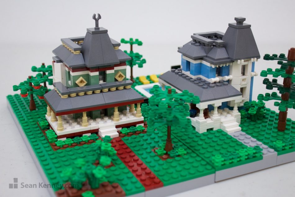 Blue-and-green-victorians LEGO art by Sean Kenney