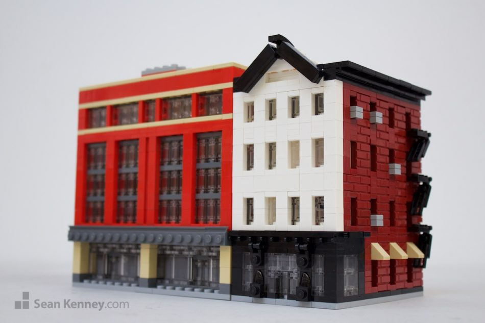 Old-and-new-shops LEGO art by Sean Kenney