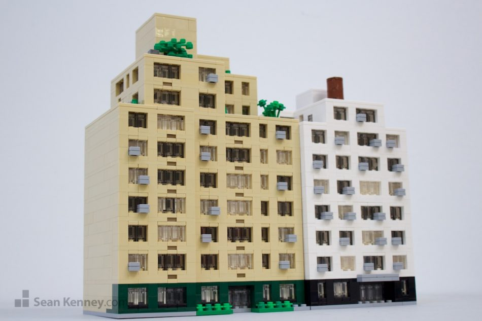 Midtown-co-op-apartment-buildings LEGO art by Sean Kenney