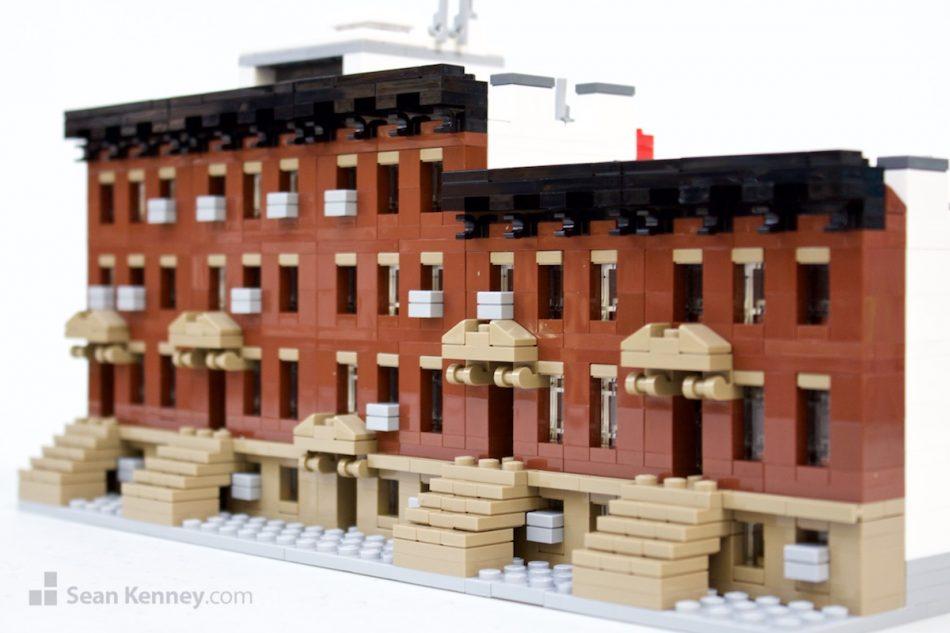 Brooklyn-brownstones LEGO art by Sean Kenney