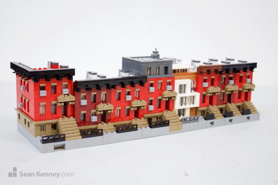 Brooklyn-townhouses LEGO art by Sean Kenney