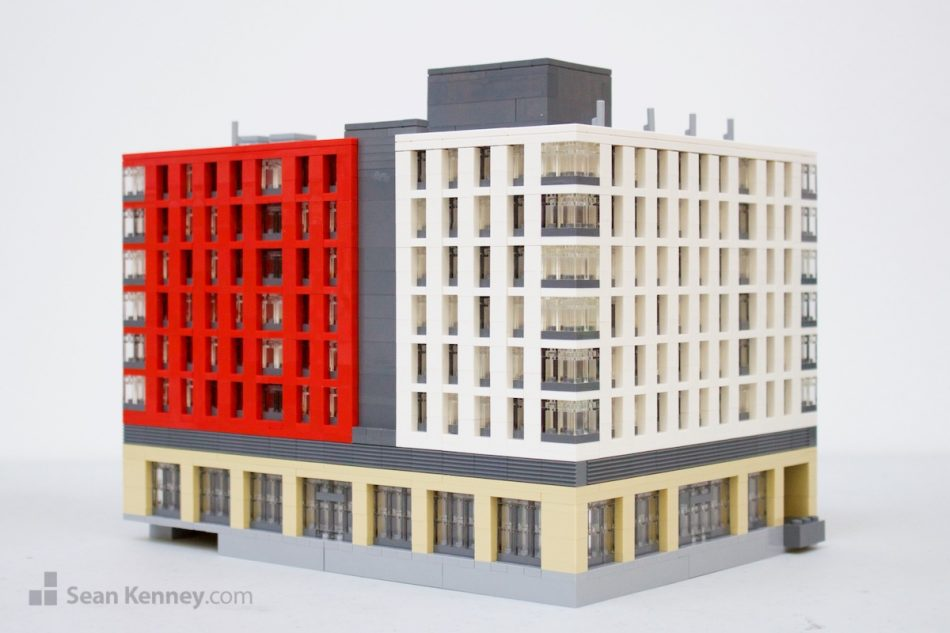 Modern-downtown-apartments LEGO art by Sean Kenney