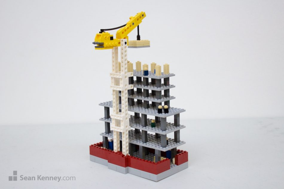Apartment-building-under-construction LEGO art by Sean Kenney