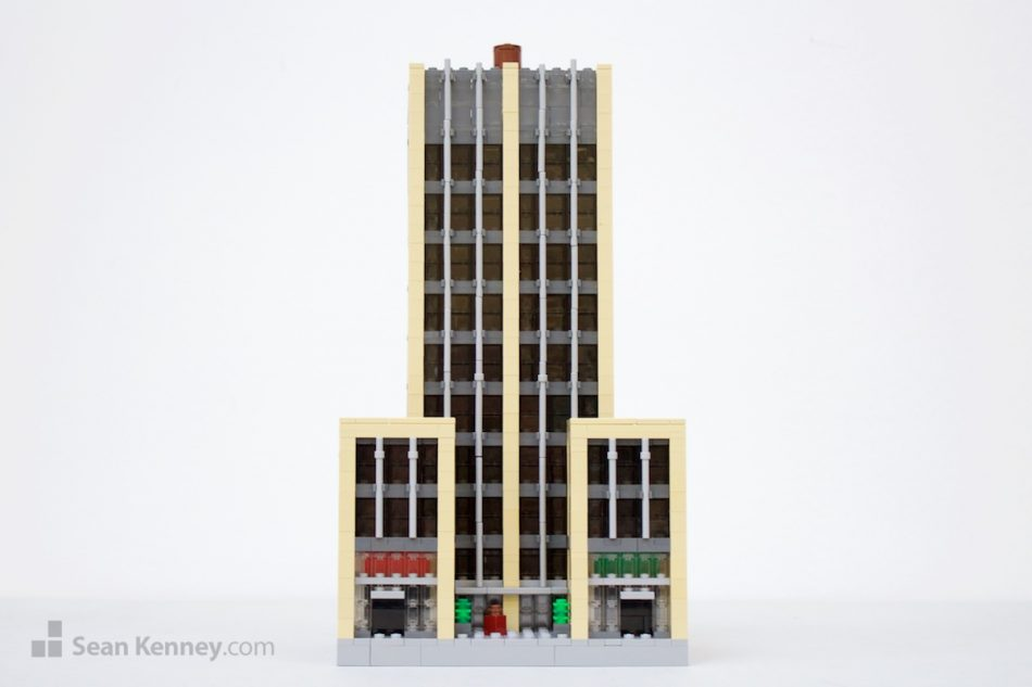 Tan-office-building LEGO art by Sean Kenney