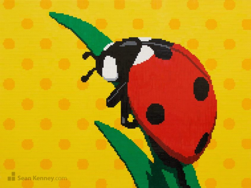 Ladybug-mural LEGO art by Sean Kenney