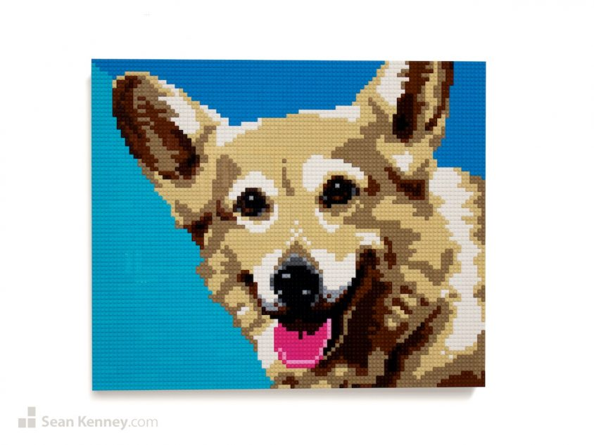 Panting-pooch LEGO art by Sean Kenney