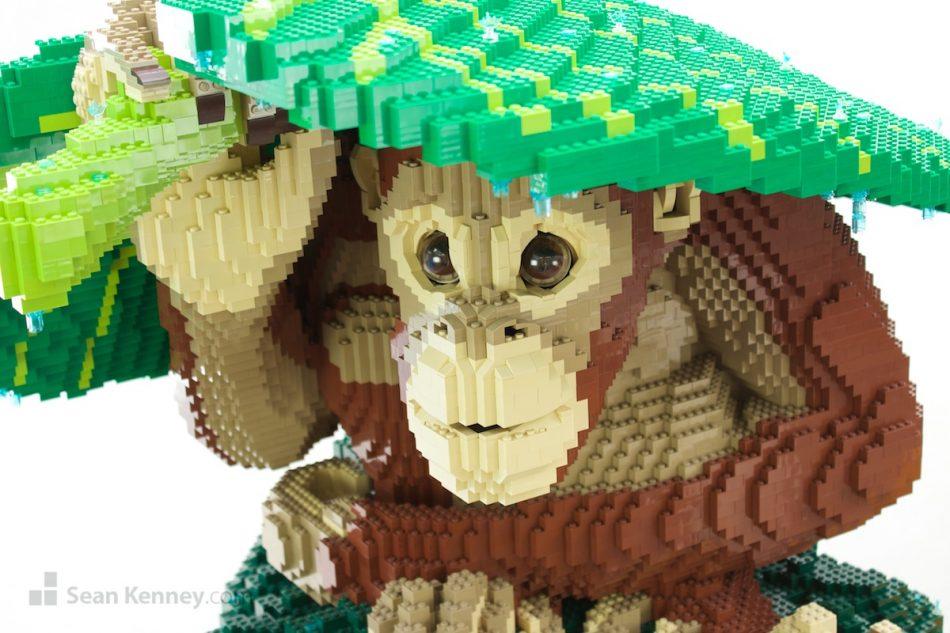 Orangutan-in-the-rain LEGO art by Sean Kenney