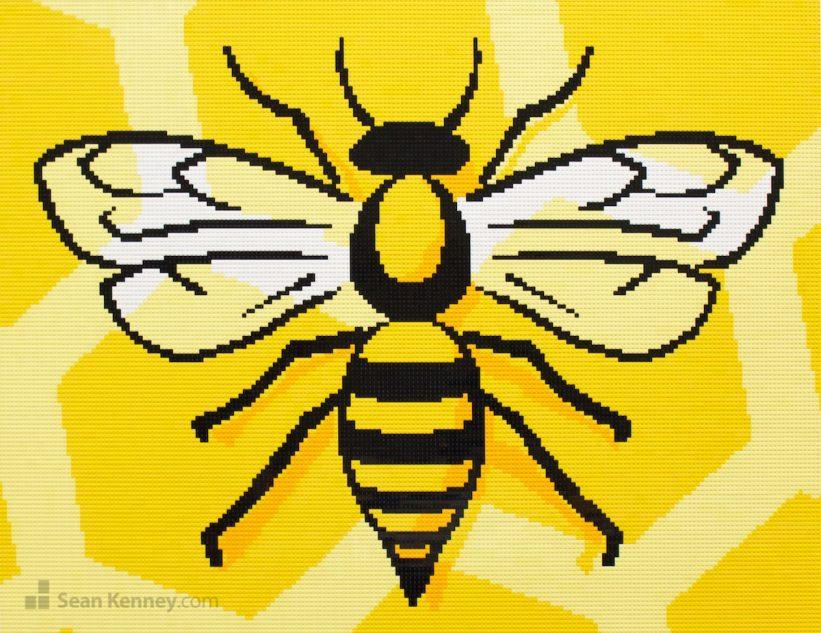 Stylized-bee-mural LEGO art by Sean Kenney