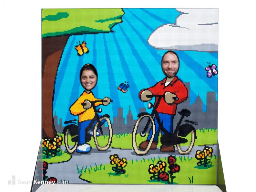 Cycling-in-the-park LEGO art by Sean Kenney