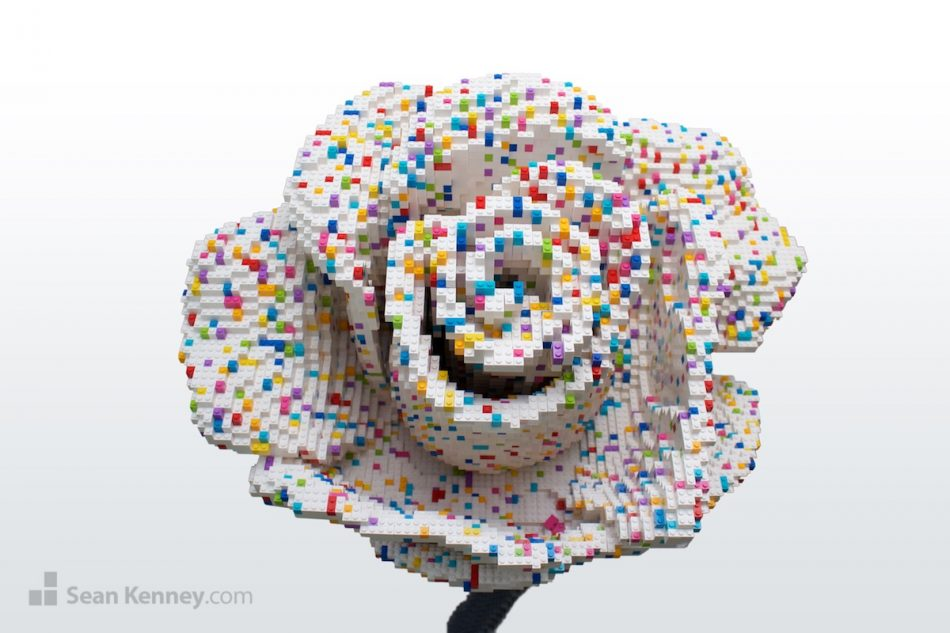 Confetti-rose LEGO art by Sean Kenney