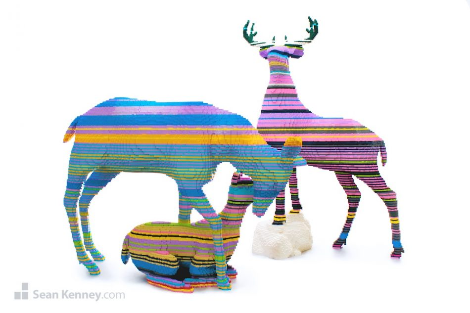 Color-mixing-family-of-deer LEGO art by Sean Kenney