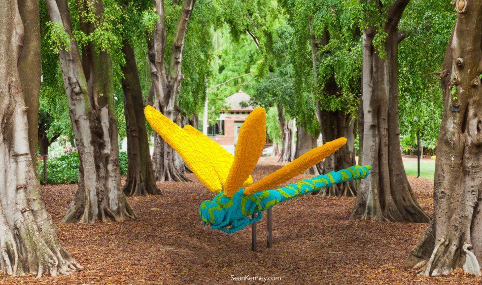 Golden-blue-pop-dragonfly LEGO art by Sean Kenney