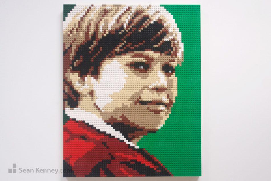 Vintage-boy LEGO art by Sean Kenney