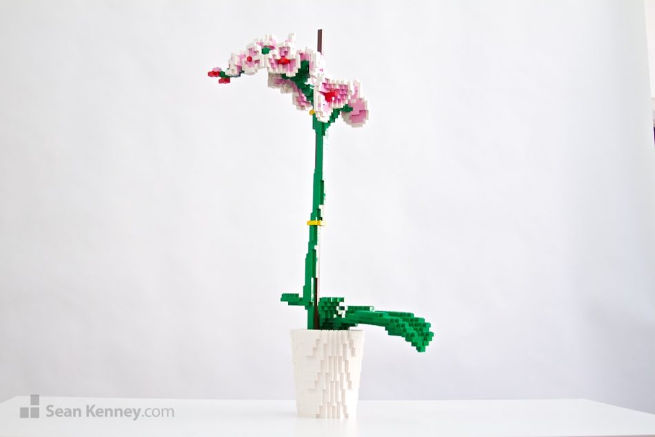 Moth-orchid LEGO art by Sean Kenney