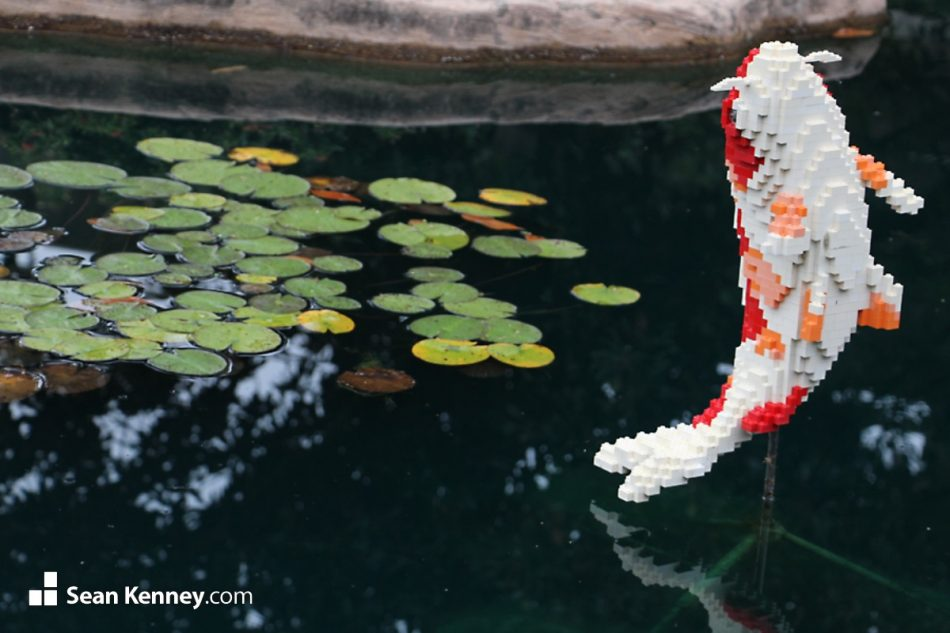 Jumping-koi LEGO art by Sean Kenney