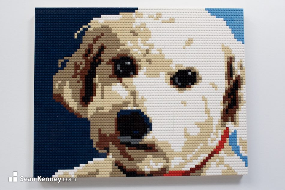 Floofy-dog LEGO art by Sean Kenney