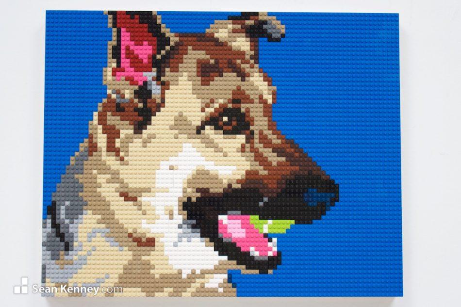 Tennis-ball-dog LEGO art by Sean Kenney