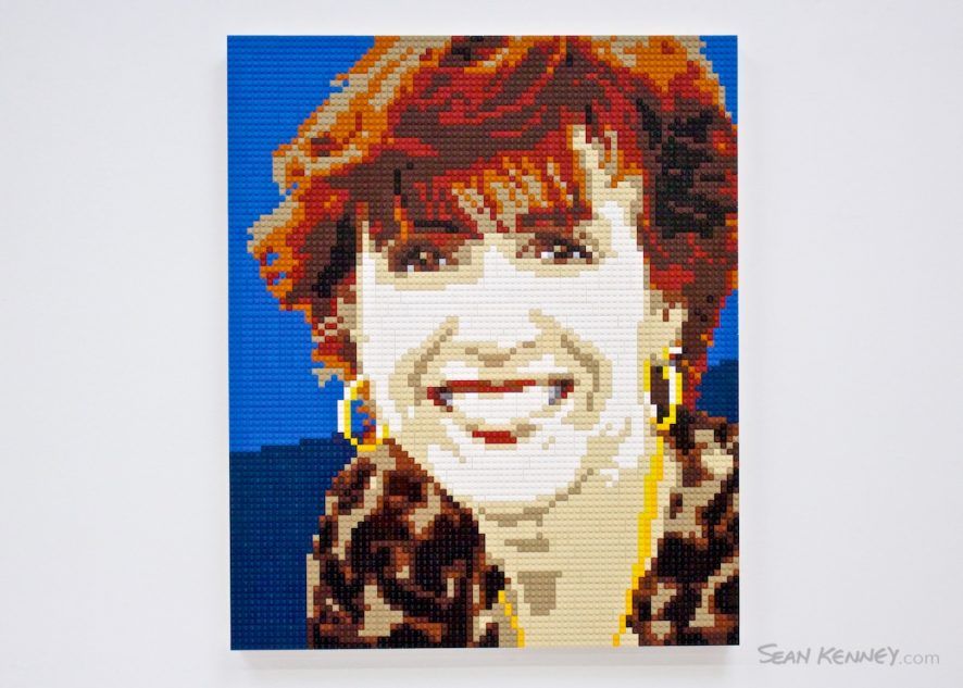 Red-haired-woman LEGO art by Sean Kenney