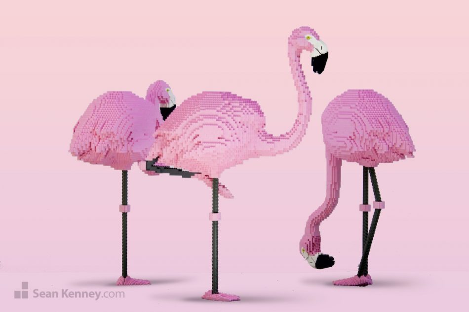 Flamingos LEGO art by Sean Kenney