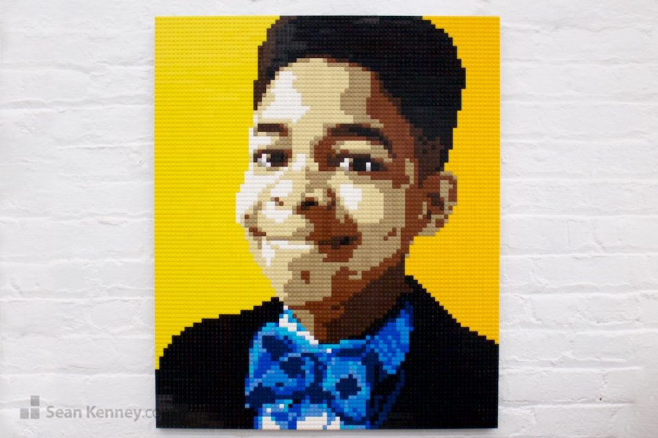 Bowtie-boy LEGO art by Sean Kenney