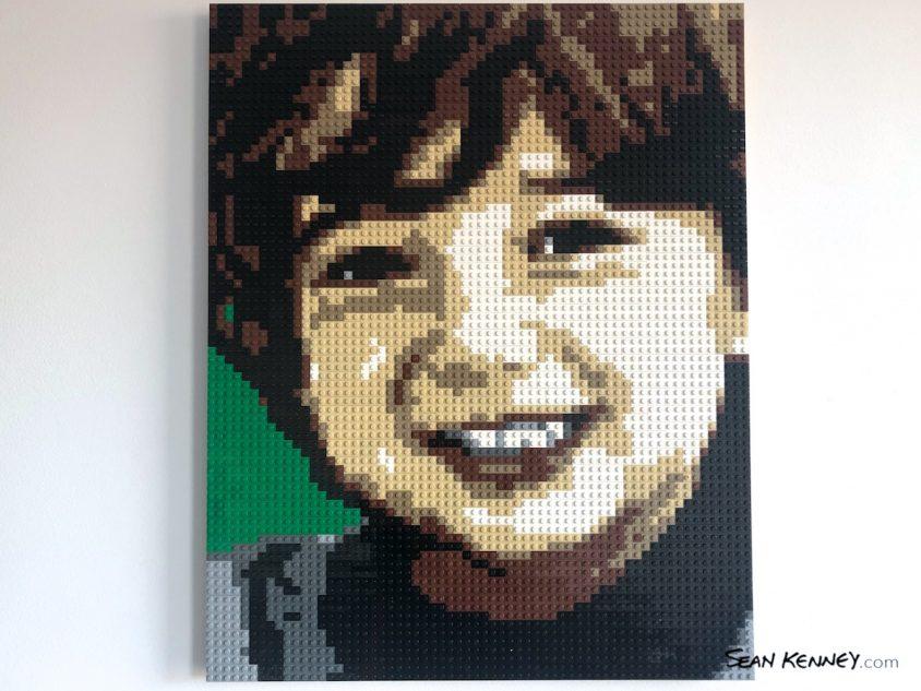Sibling-green LEGO art by Sean Kenney