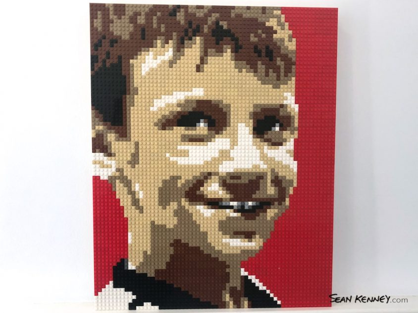 Sibling-red LEGO art by Sean Kenney