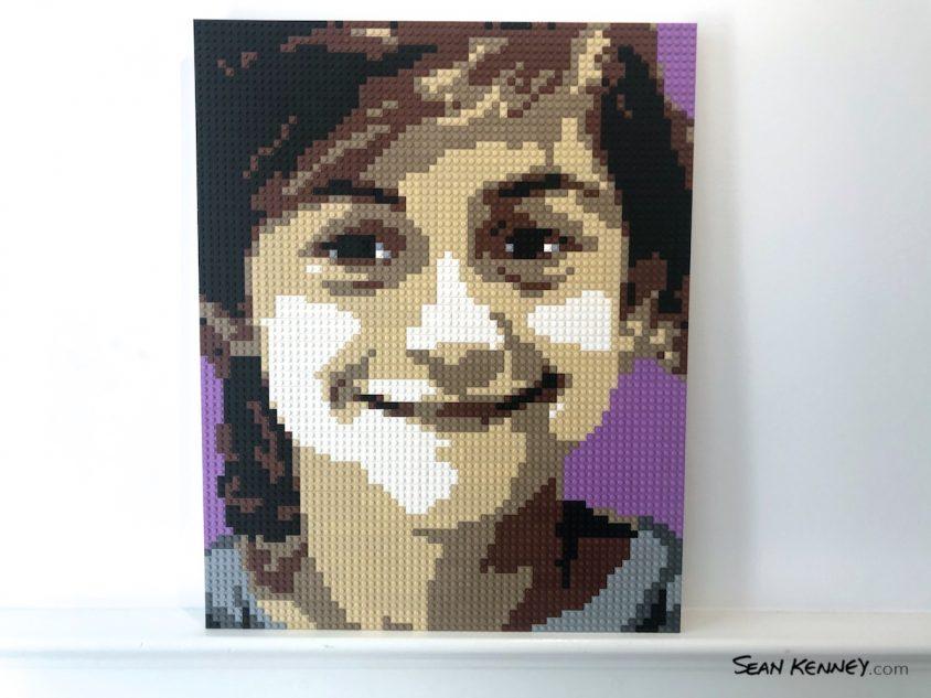 Sibling-purple LEGO art by Sean Kenney