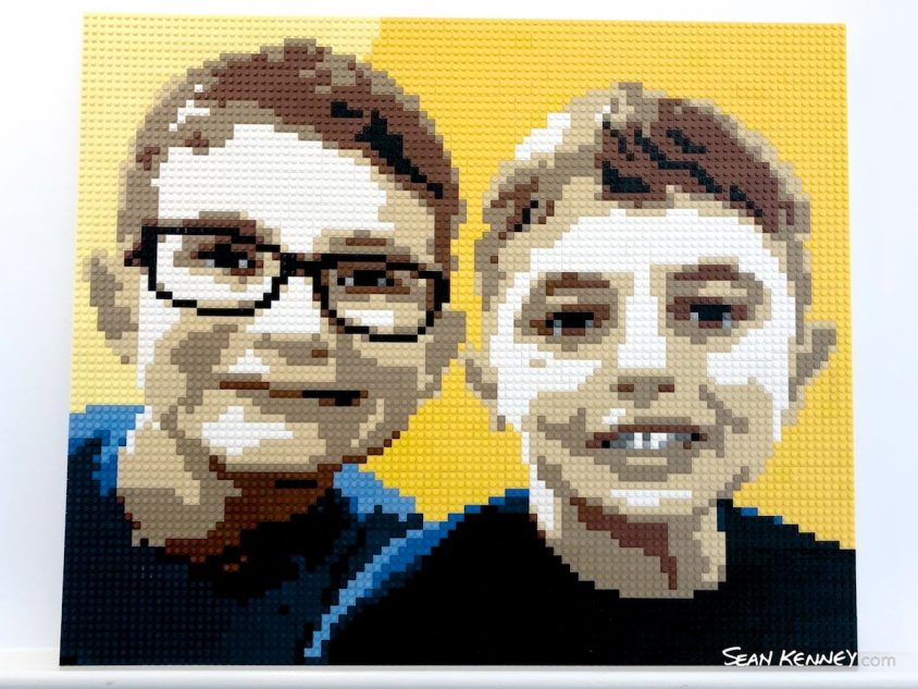 Yellow-brothers LEGO art by Sean Kenney